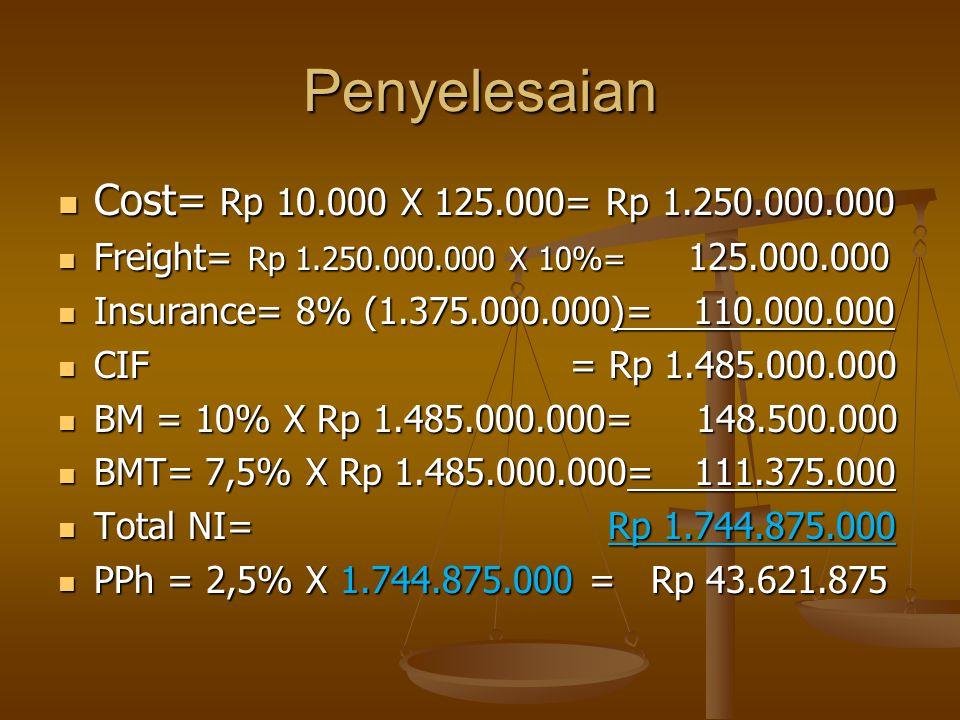 Penyelesaian Cost= Rp 10.000 X 125.000= Rp 1.250.000.000