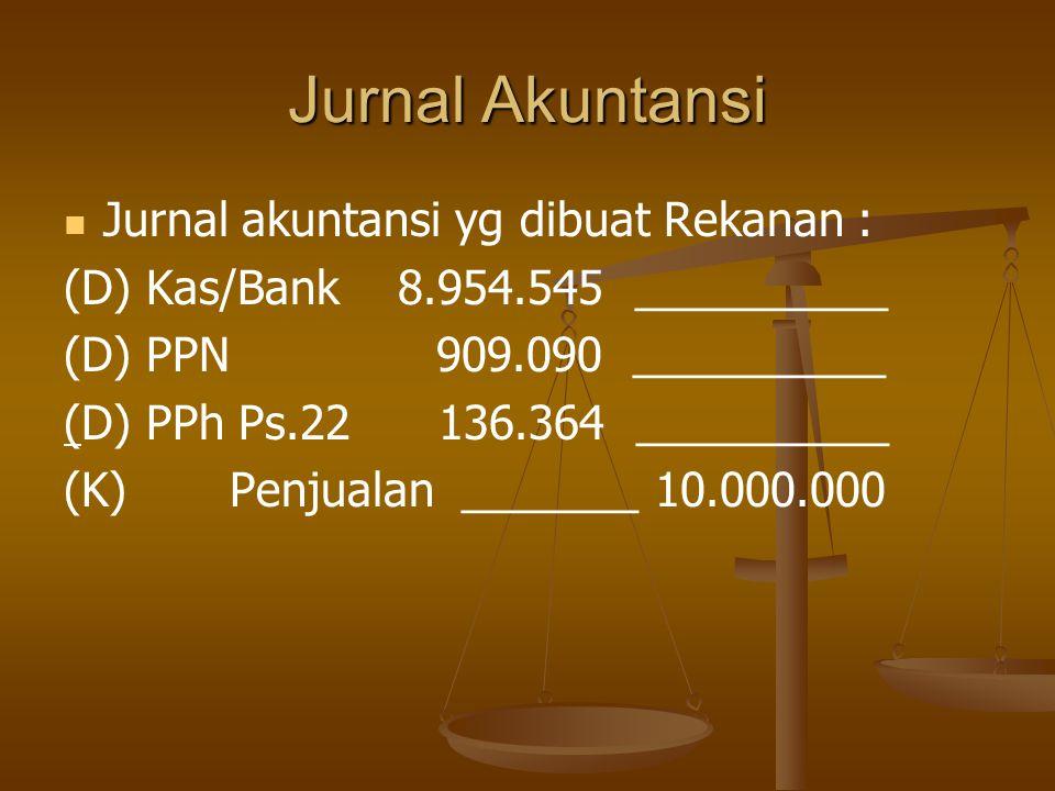Jurnal Akuntansi Jurnal akuntansi yg dibuat Rekanan :