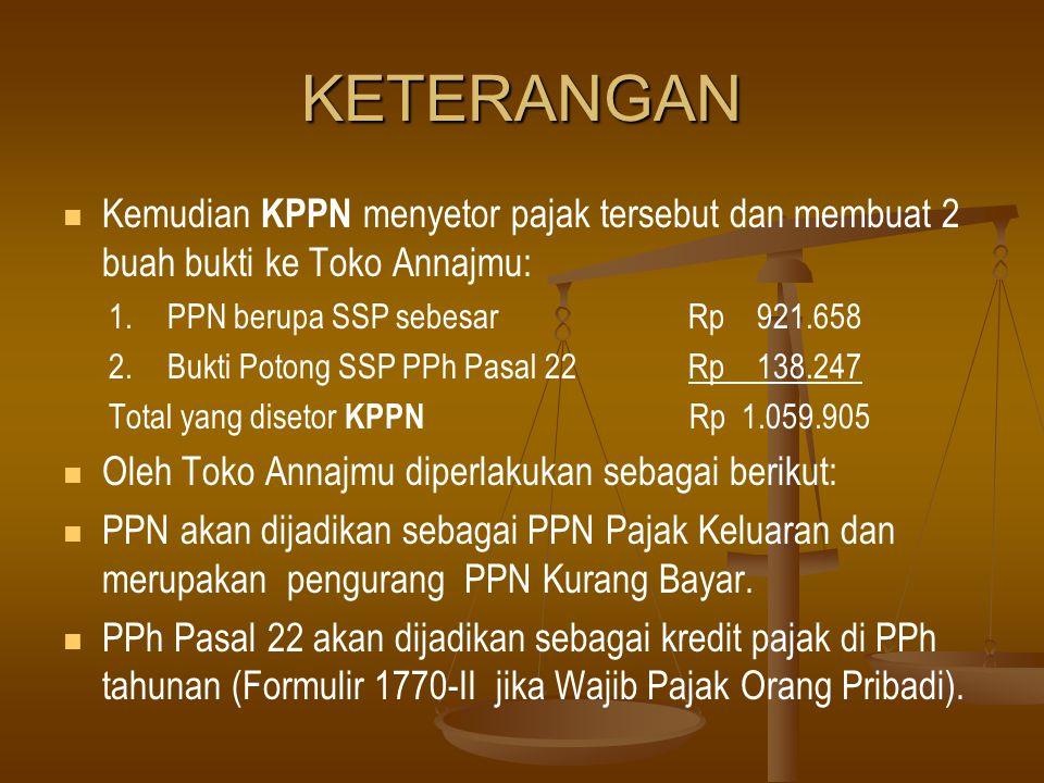 KETERANGAN Kemudian KPPN menyetor pajak tersebut dan membuat 2 buah bukti ke Toko Annajmu: 1. PPN berupa SSP sebesar Rp 921.658.