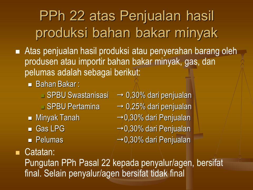 PPh 22 atas Penjualan hasil produksi bahan bakar minyak