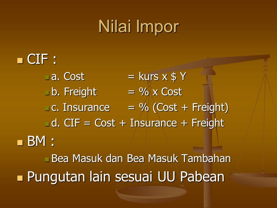 Nilai Impor CIF : BM : Pungutan lain sesuai UU Pabean