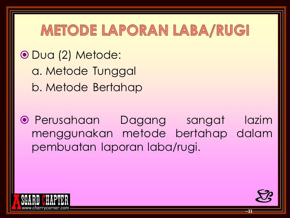 METODE LAPORAN LABA/RUGI