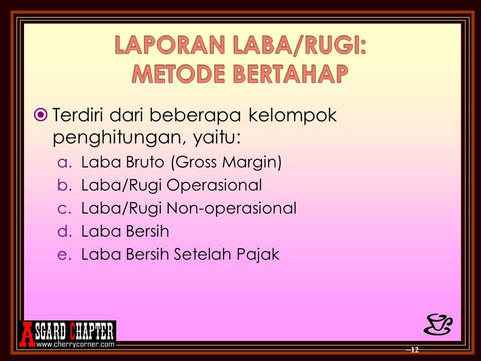 LAPORAN LABA/RUGI: METODE BERTAHAP