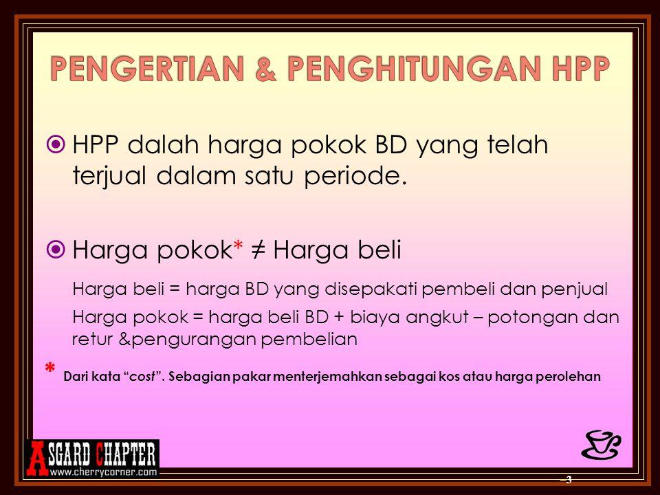 PENGERTIAN & PENGHITUNGAN HPP