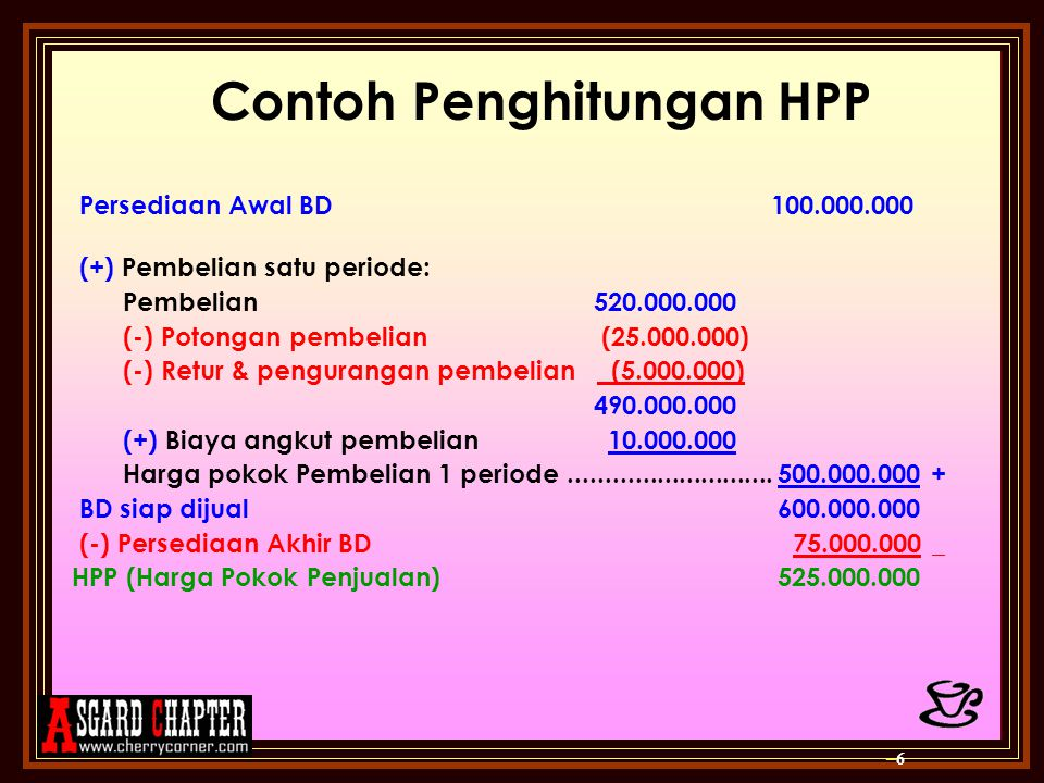 Contoh Penghitungan HPP
