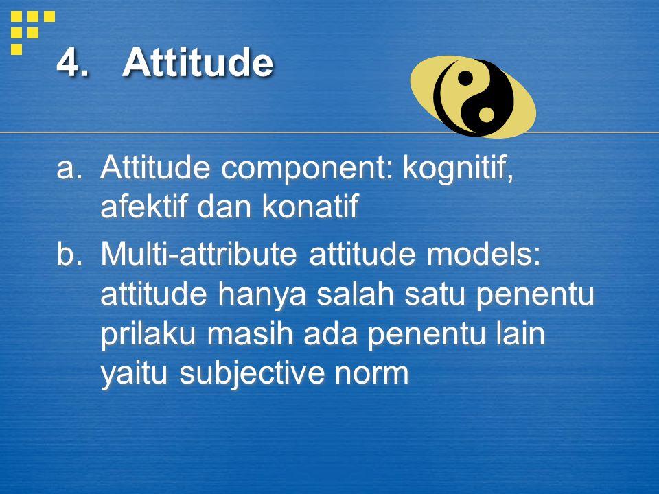 4. Attitude Attitude component: kognitif, afektif dan konatif