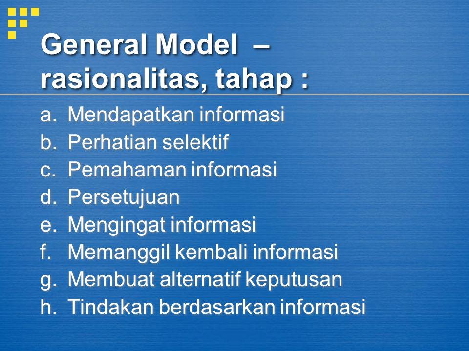 General Model – rasionalitas, tahap :