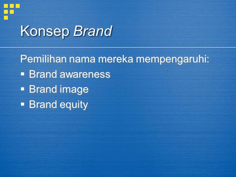 Konsep Brand Pemilihan nama mereka mempengaruhi: Brand awareness