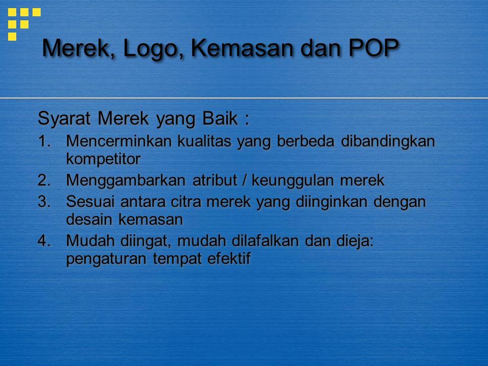 Merek, Logo, Kemasan dan POP