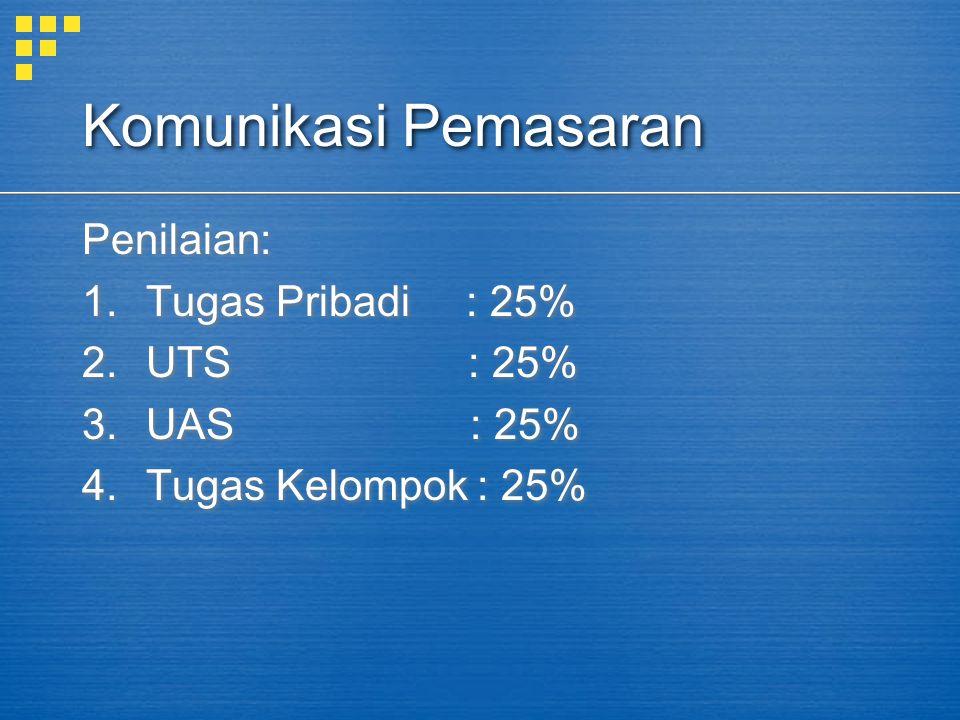 Komunikasi Pemasaran Penilaian: Tugas Pribadi : 25% UTS : 25%