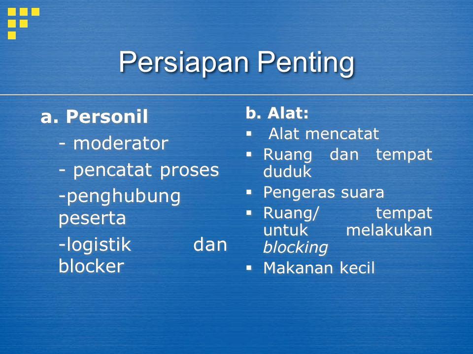 Persiapan Penting a. Personil - moderator - pencatat proses