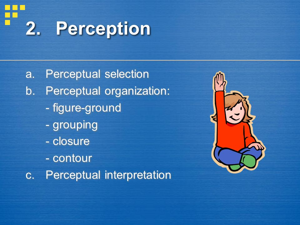 2. Perception Perceptual selection Perceptual organization:
