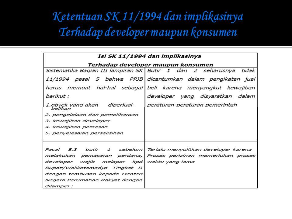 Ketentuan SK 11/1994 dan implikasinya Terhadap developer maupun konsumen