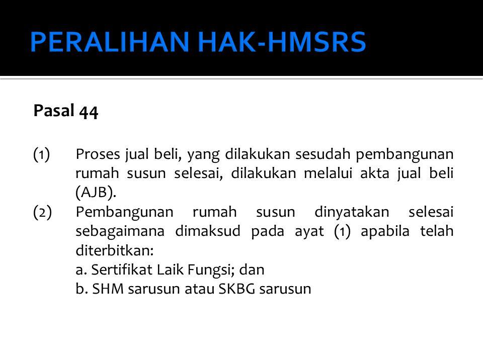 PERALIHAN HAK-HMSRS Pasal 44