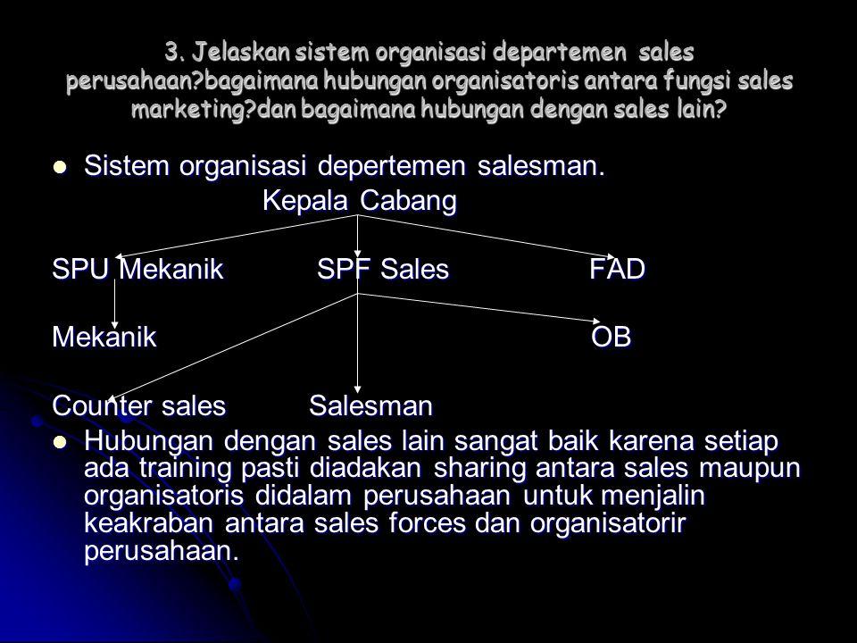 Sistem organisasi depertemen salesman. Kepala Cabang