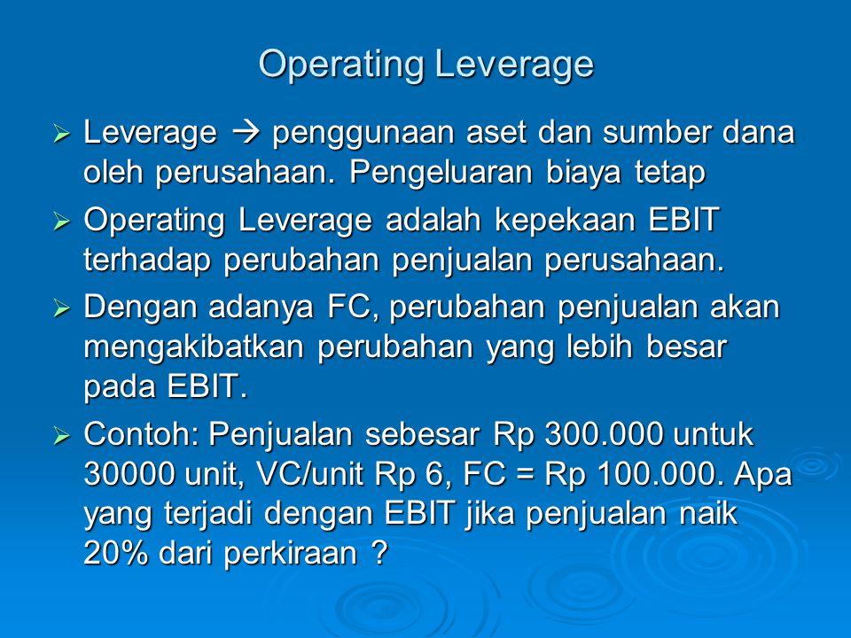 Operating Leverage Leverage  penggunaan aset dan sumber dana oleh perusahaan. Pengeluaran biaya tetap.