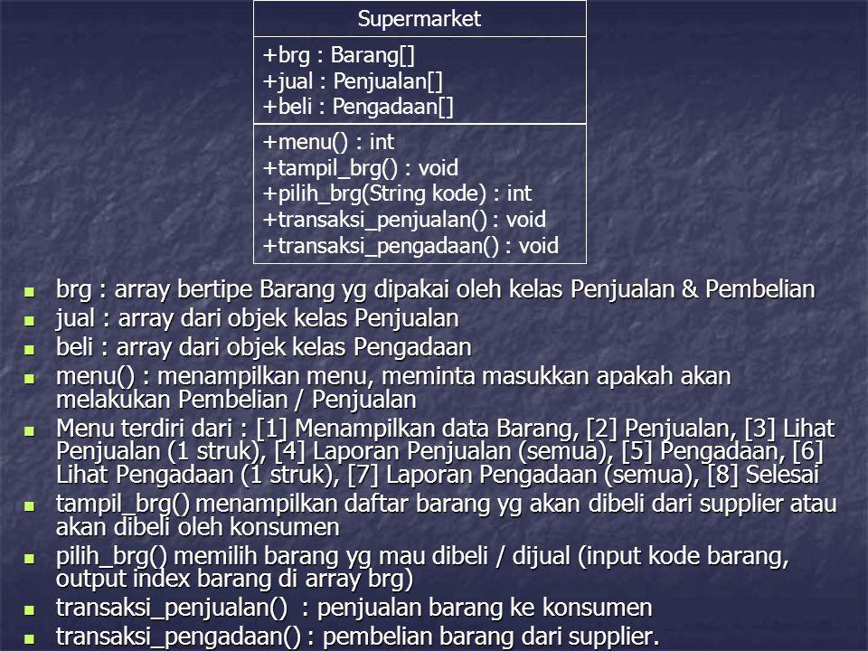 brg : array bertipe Barang yg dipakai oleh kelas Penjualan & Pembelian