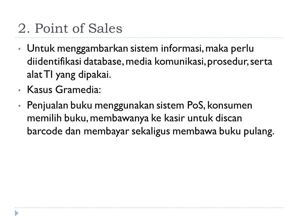 2. Point of Sales Untuk menggambarkan sistem informasi, maka perlu diidentifikasi database, media komunikasi, prosedur, serta alat TI yang dipakai.