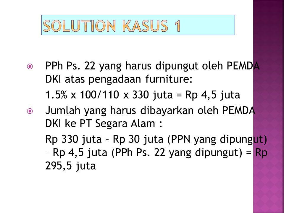 Solution kasus 1 PPh Ps. 22 yang harus dipungut oleh PEMDA DKI atas pengadaan furniture: 1.5% x 100/110 x 330 juta = Rp 4,5 juta.