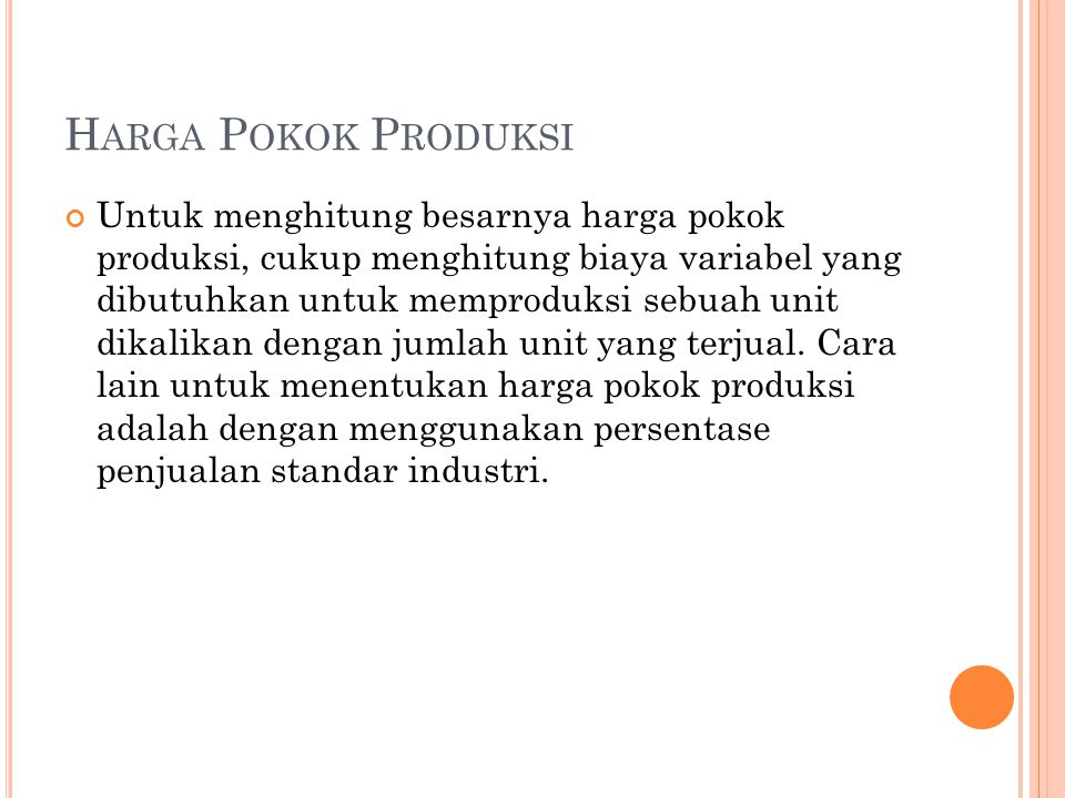 Harga Pokok Produksi