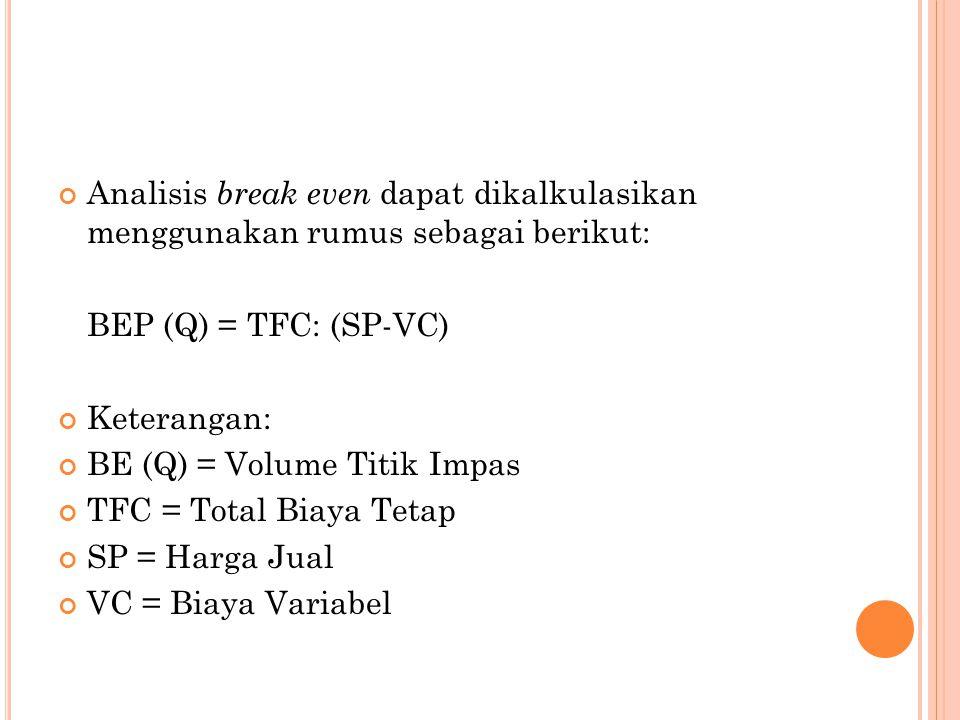 Analisis break even dapat dikalkulasikan menggunakan rumus sebagai berikut: