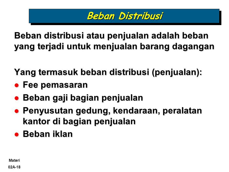 Beban Distribusi Beban distribusi atau penjualan adalah beban yang terjadi untuk menjualan barang dagangan.