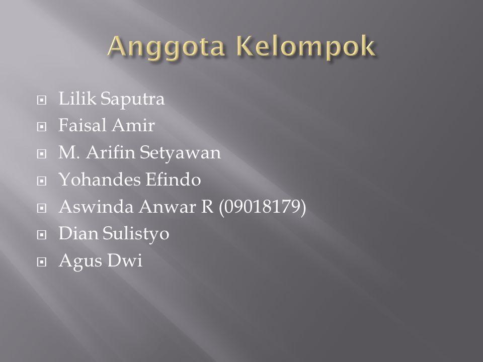 Anggota Kelompok Lilik Saputra Faisal Amir M. Arifin Setyawan