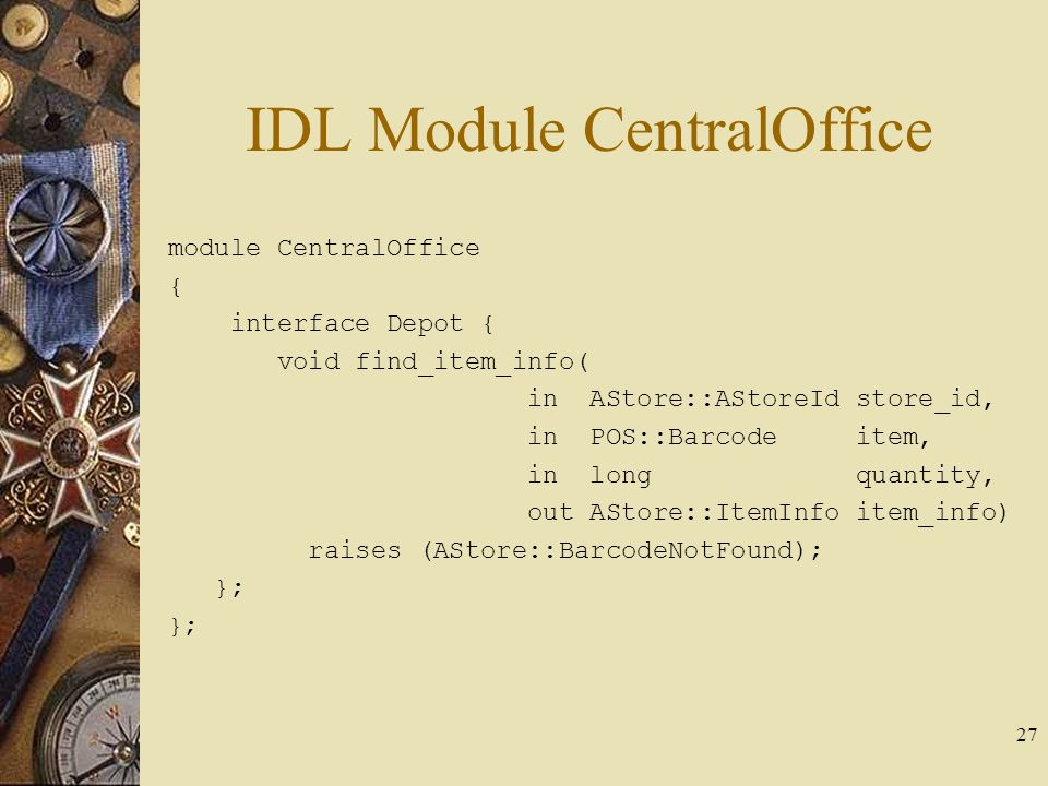 IDL Module CentralOffice