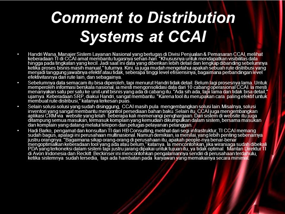 Comment to Distribution Systems at CCAI