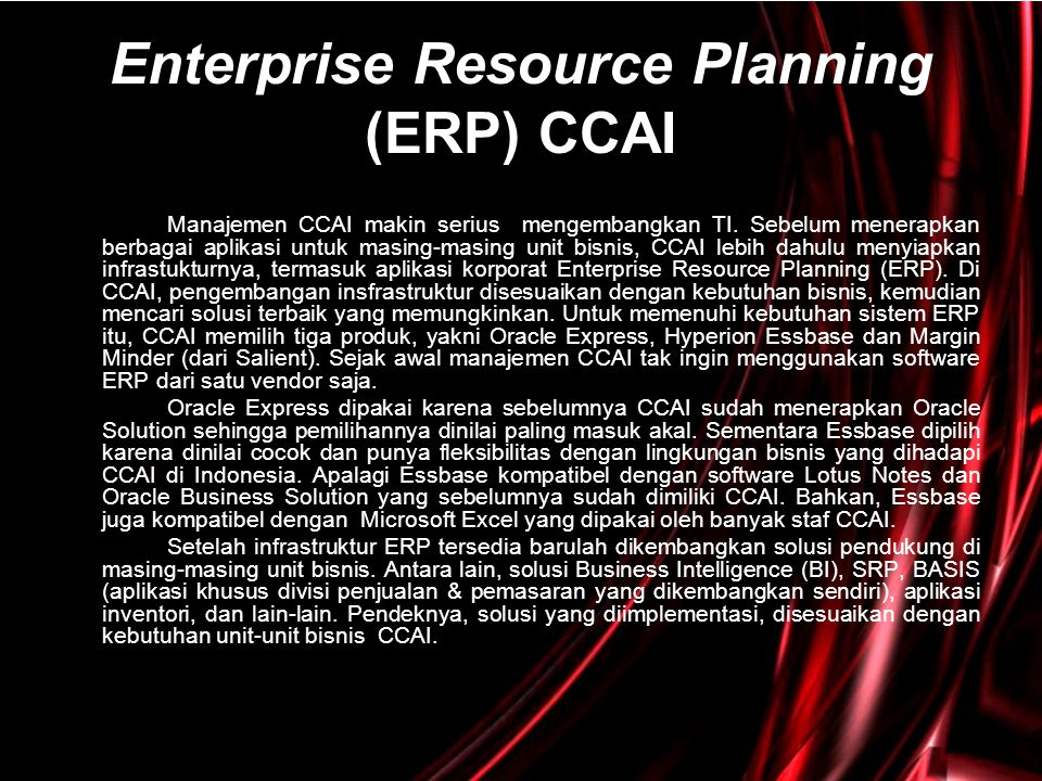 Enterprise Resource Planning (ERP) CCAI