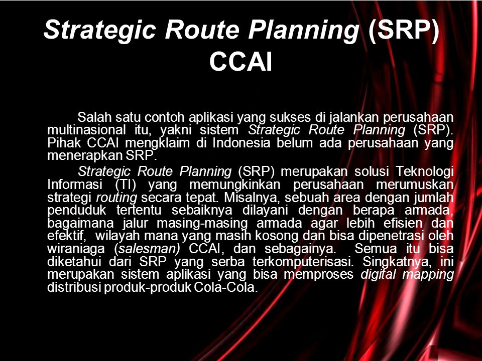 Strategic Route Planning (SRP) CCAI