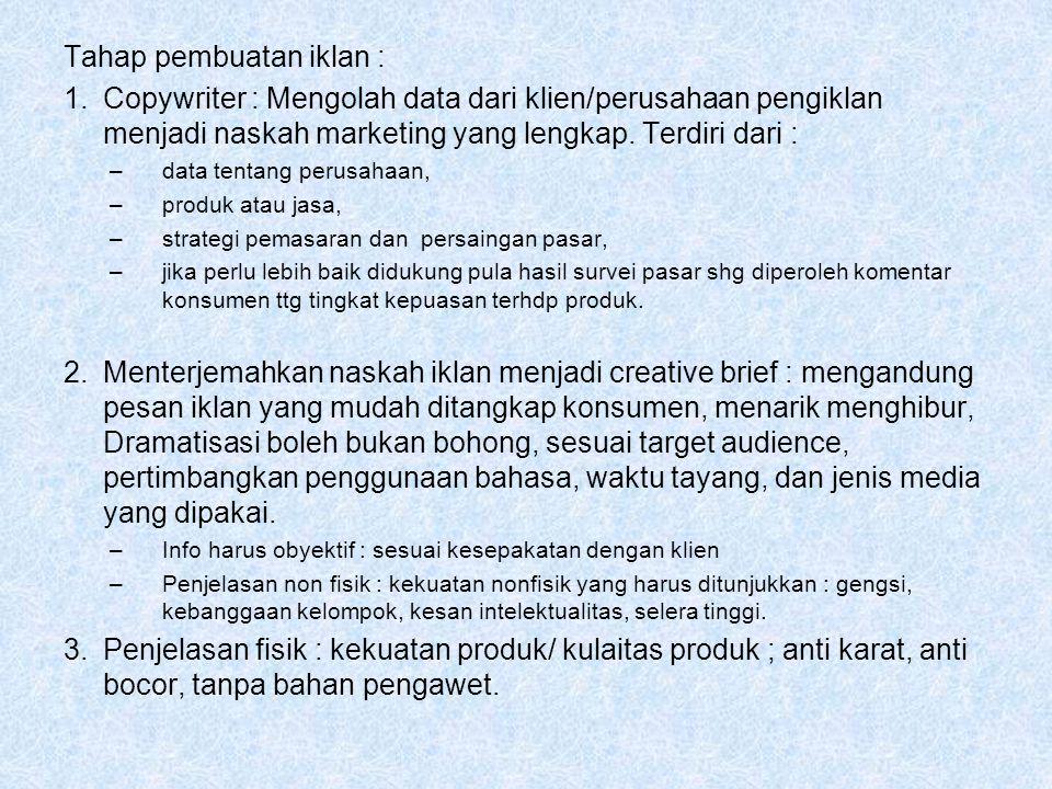 Tahap pembuatan iklan :