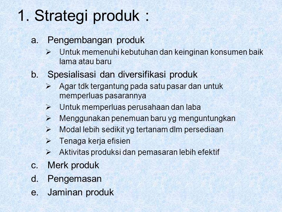 1. Strategi produk : Pengembangan produk