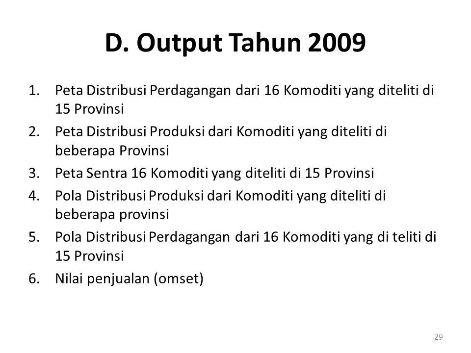 D. Output Tahun 2009 Peta Distribusi Perdagangan dari 16 Komoditi yang diteliti di 15 Provinsi.