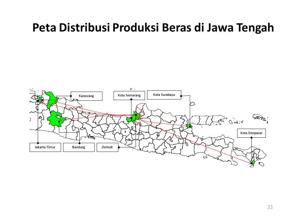 Peta Distribusi Produksi Beras di Jawa Tengah