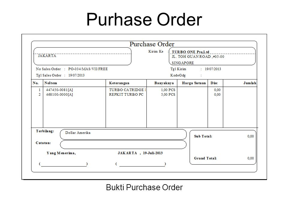 Purhase Order Bukti Purchase Order