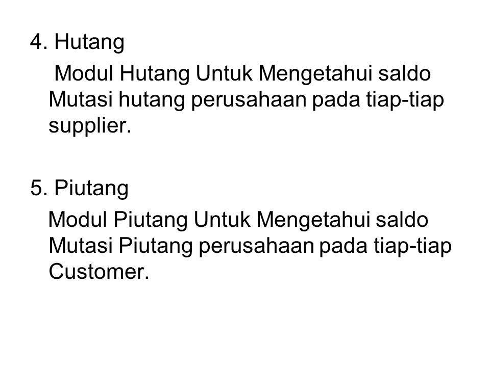 4. Hutang Modul Hutang Untuk Mengetahui saldo Mutasi hutang perusahaan pada tiap-tiap supplier. 5. Piutang.