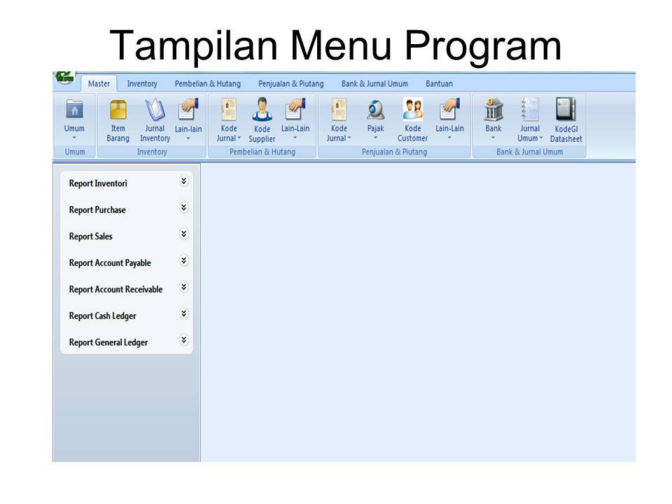 Tampilan Menu Program