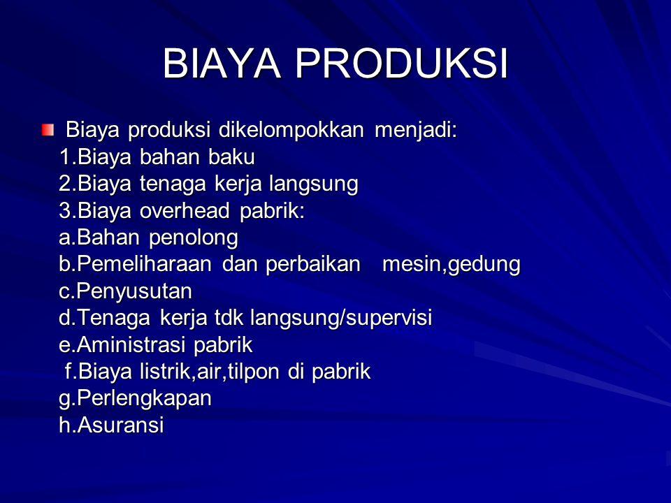 BIAYA PRODUKSI Biaya produksi dikelompokkan menjadi: