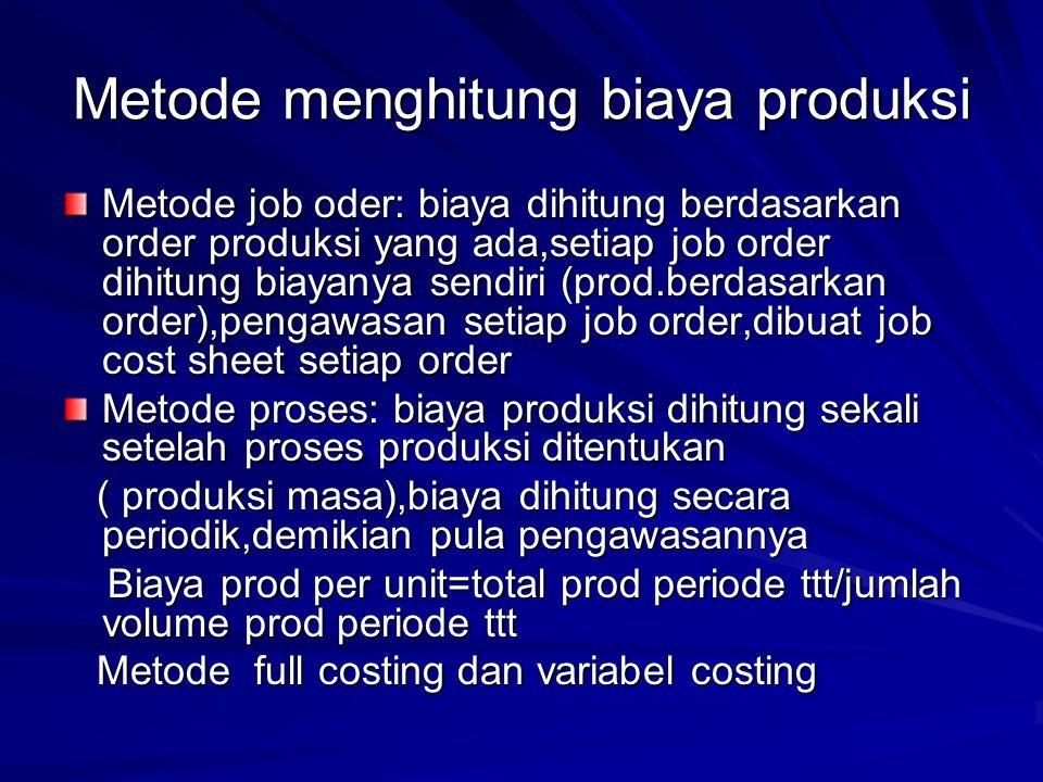 Metode menghitung biaya produksi