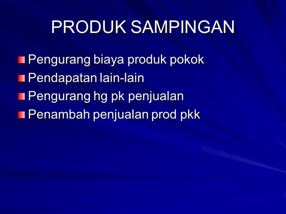 PRODUK SAMPINGAN Pengurang biaya produk pokok Pendapatan lain-lain