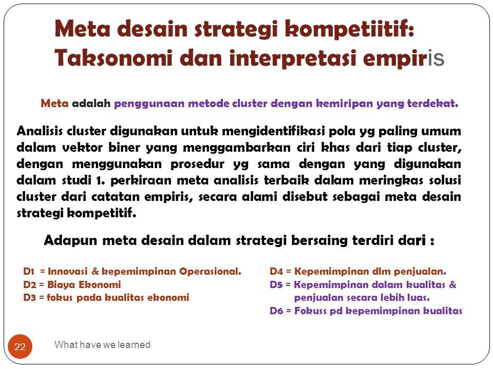 Meta desain strategi kompetiitif: Taksonomi dan interpretasi empiris