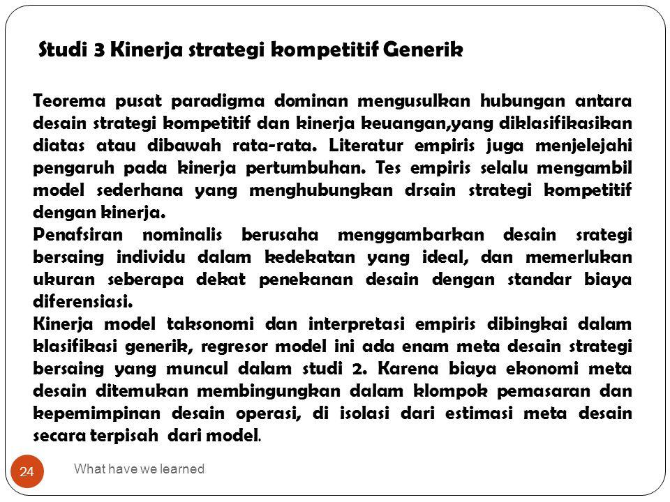Studi 3 Kinerja strategi kompetitif Generik