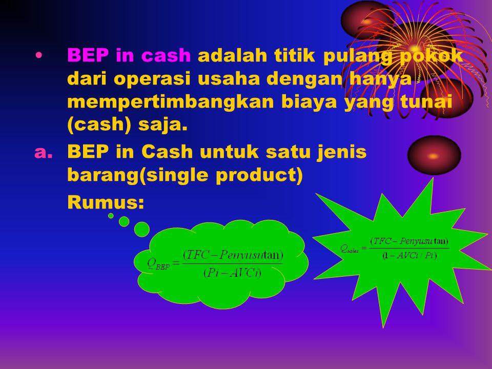 BEP in cash adalah titik pulang pokok dari operasi usaha dengan hanya mempertimbangkan biaya yang tunai (cash) saja.