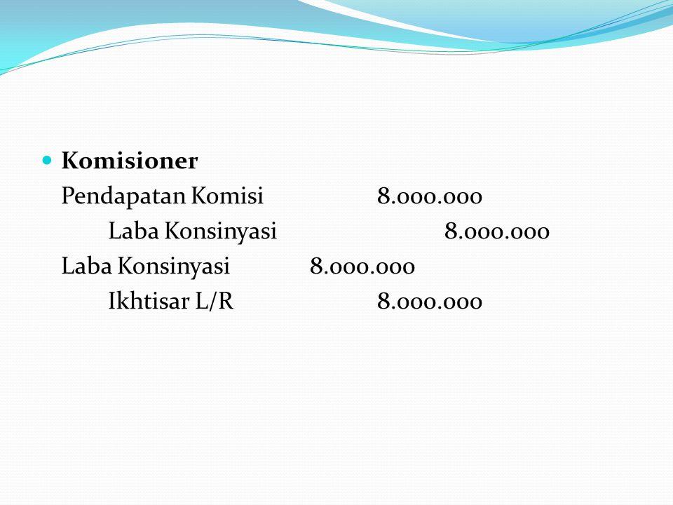 Komisioner Pendapatan Komisi 8.000.000. Laba Konsinyasi 8.000.000. Laba Konsinyasi 8.000.000.