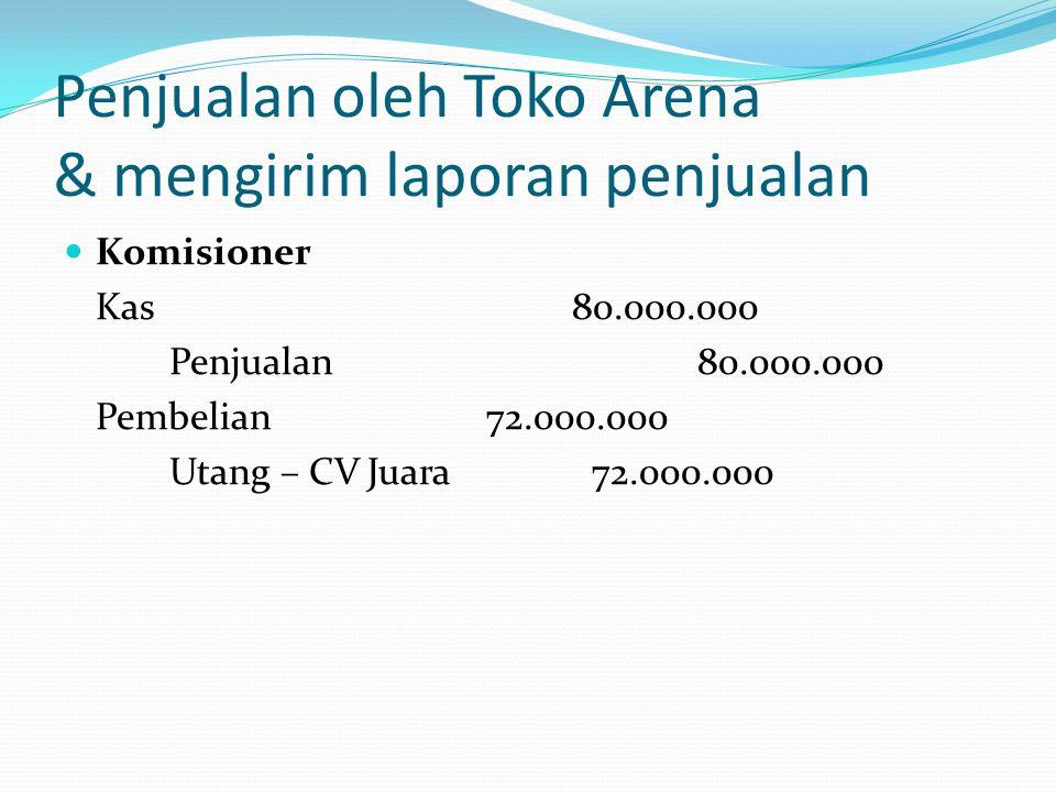 Penjualan oleh Toko Arena & mengirim laporan penjualan