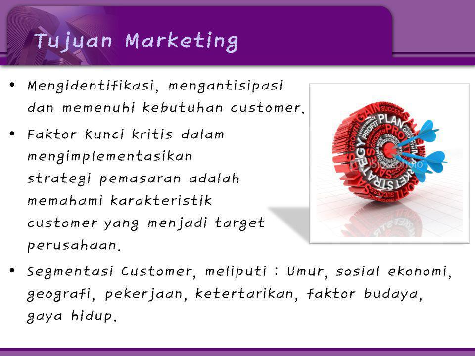 Tujuan Marketing Mengidentifikasi, mengantisipasi dan memenuhi kebutuhan customer.