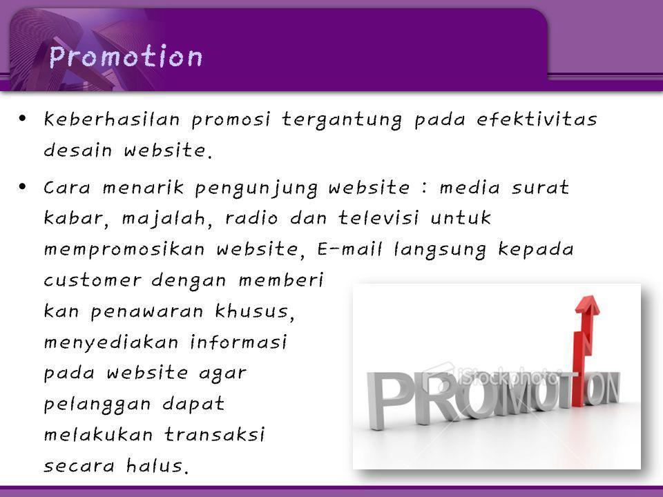 Promotion Keberhasilan promosi tergantung pada efektivitas desain website.