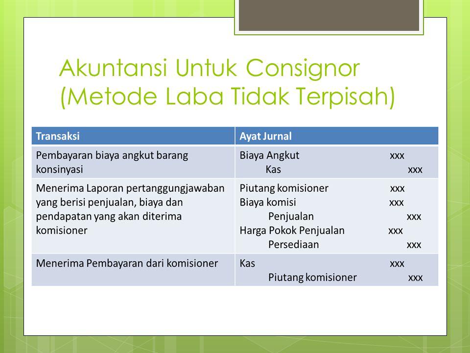 Akuntansi Untuk Consignor (Metode Laba Tidak Terpisah)
