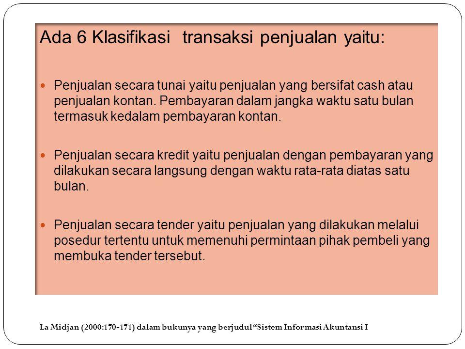 Ada 6 Klasifikasi transaksi penjualan yaitu: